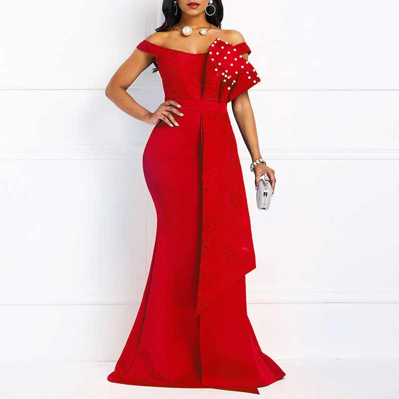MD Bodycon סקסי נשים שמלה אלגנטי אפריקאי גבירותיי בת ים חרוזים תחרת חתונת ערב המפלגה מקסי שמלות 2020 חדש שנה בגדים