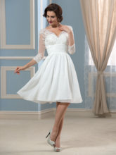 Tanpell Lace Appliques Knee-Length Wedding Dress Chiffon Charming V-Neck 3/4-Length Sleeve Zipper-Up A-Line Wedding Dress knee length square neck two tone dress