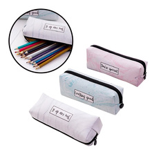 PU Marble Pencil Bag, Simple Multifunctional Case, Kawaii Large Capacity Waterproof Pattern, Office Learning