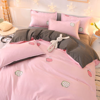 Bedding Set White And Pink Strawberry