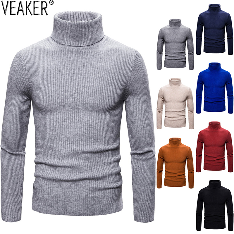 2019 New Men's Striped Turtleneck Sweaters Pullover Autumn Winter Solid Color Red Black White Sexy Slim Fit Knitted Pullovers