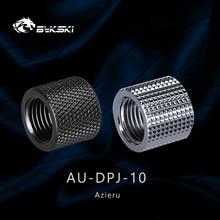 2pcs Azieru  iAU-DPJ-10 Diamond Pattern Double G1/4 Thread Female Butt Joint Connector Extender,Tube Fittings Black/Silver