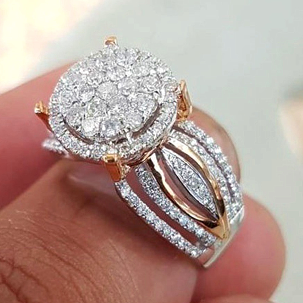 Full Bling AAA Zircon Diamonds Rings For Women Rose Gold Color Luxury Jewelry Bijoux Bague Party Engagement Gift Fashion New