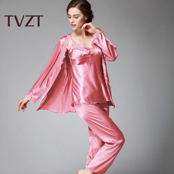 Tvzt 2020 spring and summer new womens pajamas pants three-piece suit underwear night spring comfortable womens pajamas