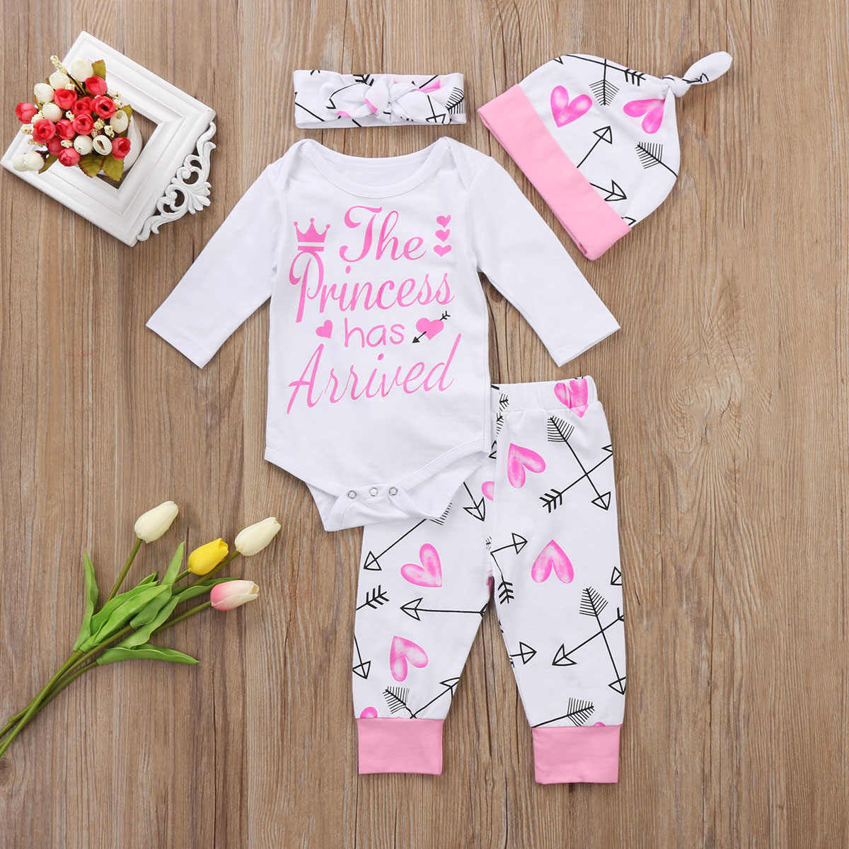 Pudcoco Girl Suits 4PCS Newborn Infant Baby Girls Clothes Playsuit Romper Pants  Outfit Set