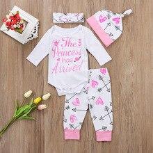 Pudcoco костюмы для девочек 4 шт. Одежда для новорожденных младенцев девочек Комбинезон брюки комплект одежды