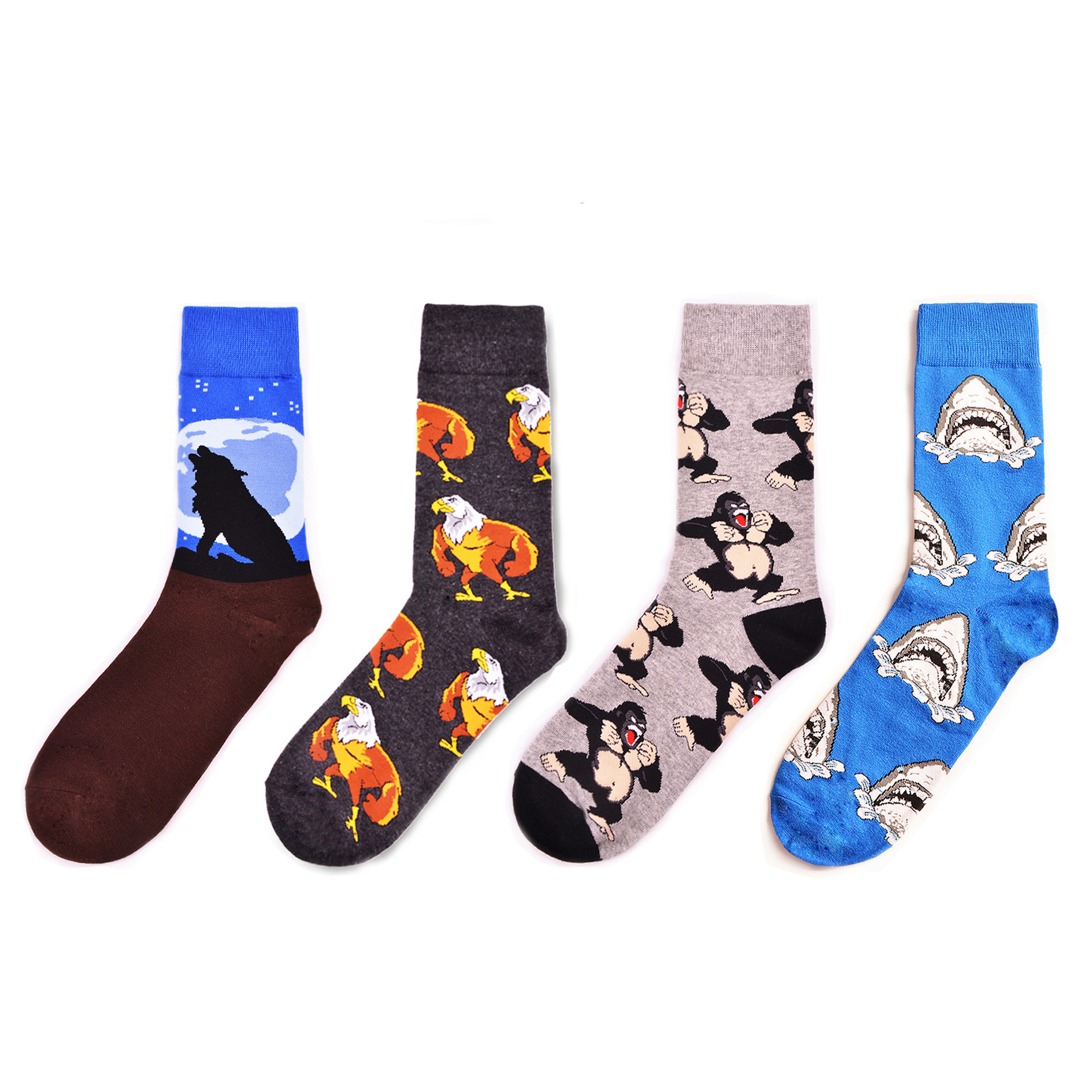Funny Men's Combed Cotton Crew Dress Socks Novelty Wolf Shark Animal Pattern Fashion Skateboard Socks For Wedding Gifts