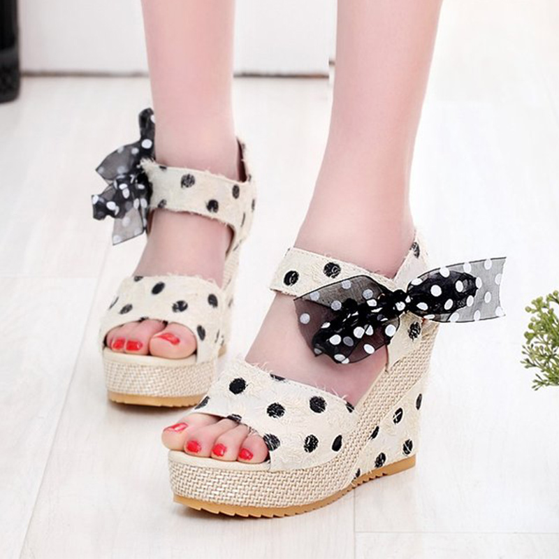 Women Dot Bowknot Design Platform Wedge Sandals Female Casual High Increas Shoes Ladies Fashion Ankle Strap Open Toe Sandals
