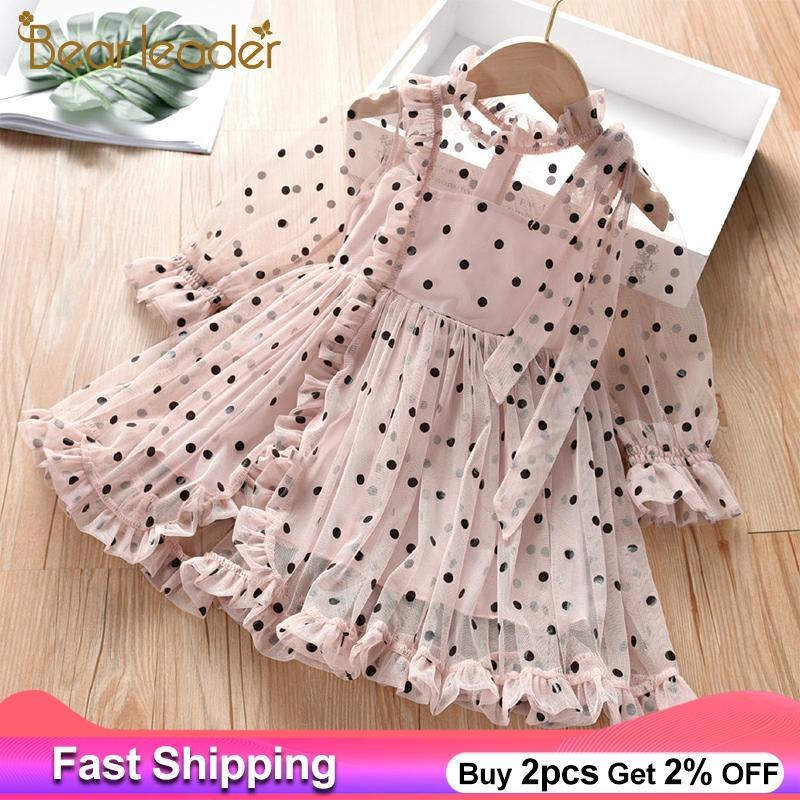 Bear Leader Girls Dress New Fashion Kids Girl Polka Dot Elegant Princess Dresses Lace Embroidery Children Kid Clothing Vestidos