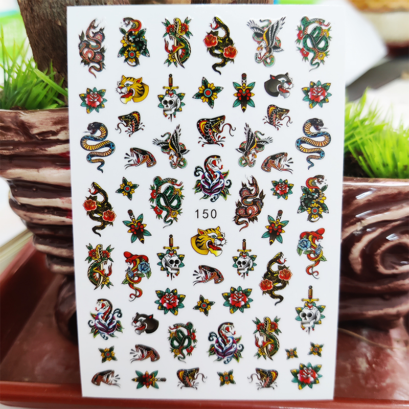 3D Nail Sticker Decals Self-adhesive Stickers for Nails Snake Flowers Leopard Skull Sticker for Manicure Nail Art Decoration