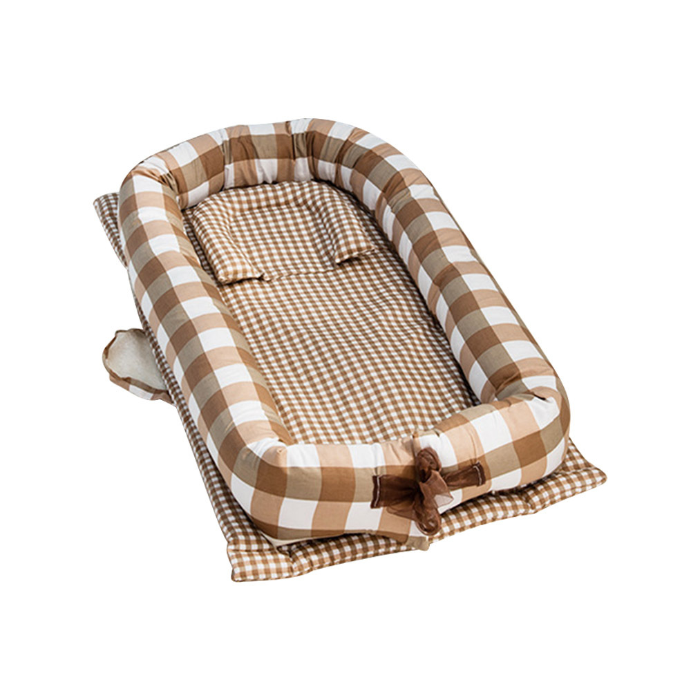 Crib Portable Foldable Solid Color Newborn Crib Middle Bed Newborn Sleeping Bed Travel Bed Baby Dedicated