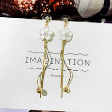 S925 Silver Needle Daisy Small Flower Earrings Female Temperament Long-style tassel net Red