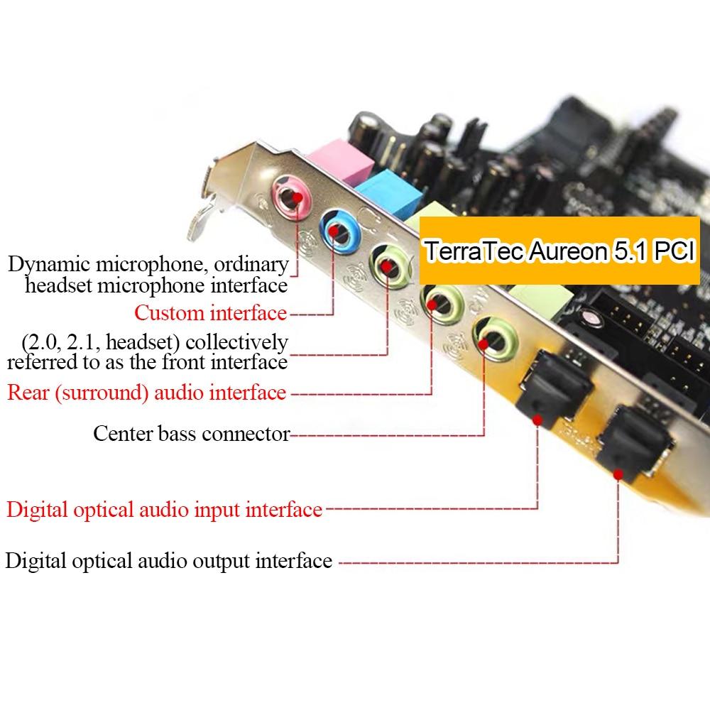 ЦАП с terratec Aureon 5.1 PCI с встроенная звуковая карта поддерживает 5.1 каналы с волоконно-оптическим входом и выходом и микрофонный вход