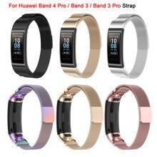 Pulseira para huawei banda 4 pro/banda 3/banda 3 pro pulseira pulseira de aço inoxidável milanese pulseira de metal relógio