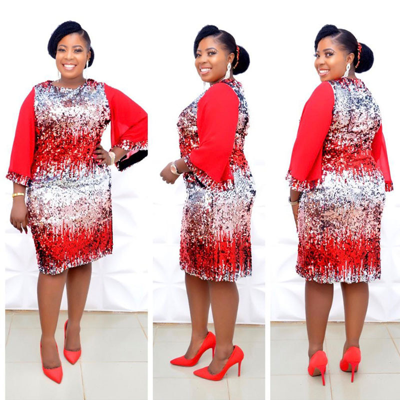 African Dresses For Women 2020 New Spring African Women Sexy Fashion O-neck Plus Size Polyester Sequined Knee-length Dress