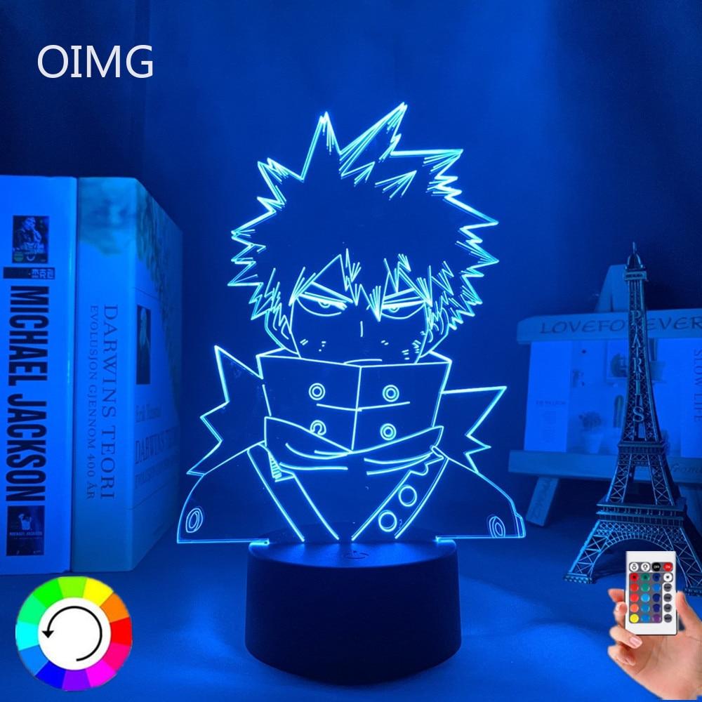 3d Led Night Light Anime My Hero Academia for Bedroom Decor Birthday Gift Manga Gadget My Hero Academia Katsuki Bakugo Lamp 3d