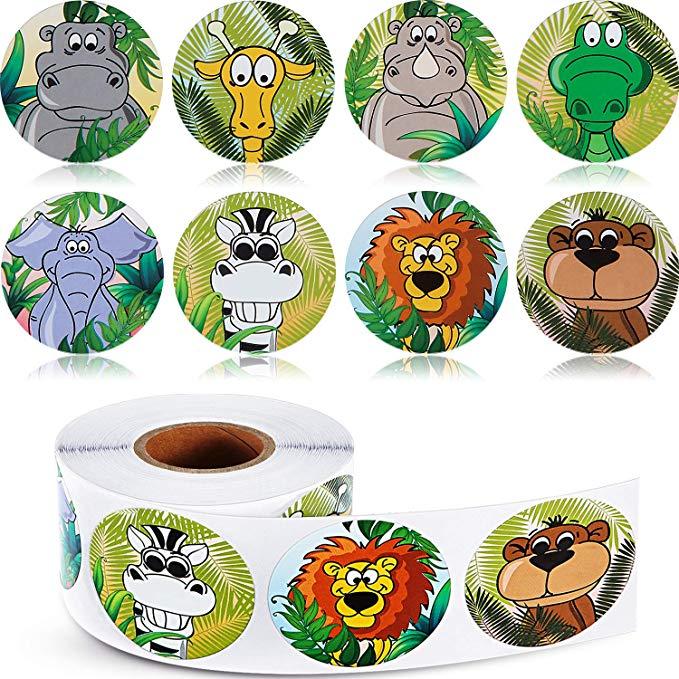 500pcs Zoo Animals Round Cute Stickers Roll Adhesive Label Sticker Scrapbooking For Notebook Kids Rewards Stationery Sticker