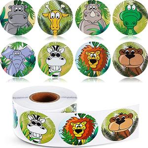 500pcs Zoo Animals round cute Stickers Roll Adhesive Label sticker scrapbooking for notebook kids rewards stationery sticker(China)