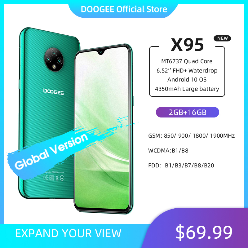 "New DOOGEE X95 Android 10 4G-LTE Cellphones 6.52"" Display MTK6737 16GB ROM Dual SIM 13MP Triple Camera 4350mAh Battery(China)"