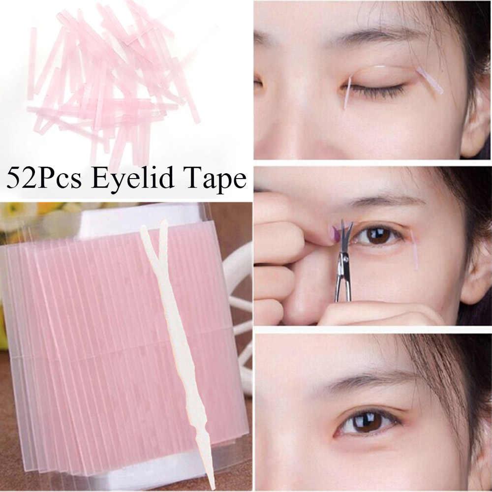 52 Pcs mit 1 gabel Unsichtbar Doppel Augenlid Band Magie Augenlid Aufkleber Doppelseitige Streifen Klebstoff Faser Stretch Auge Werkzeuge