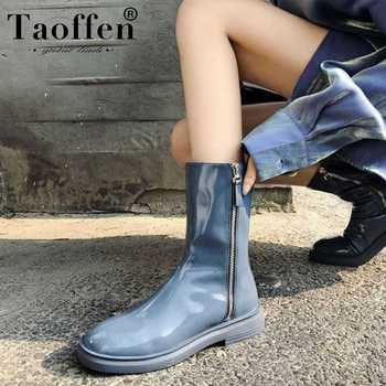Taoffen Lady Genuine Leather Ankle Boots Zipper Comfortable Brand Short Boots Fashion Flats Office Women Footwear Size 34-39