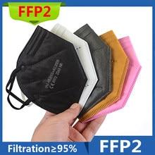 Mascarillas ffp2reutilizável 6 camada ffp2mask aprovado higiênico protetor ce fpp2 boca máscara facial ffp2 respirador máscara de poeira