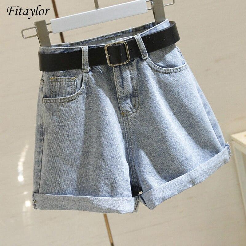 Fitaylor 2020 Streetwear High Waist Women Blue Denim Shorts With Belt Summer Casual Female Wide Leg Plus Size 2xl Jeans Shorts