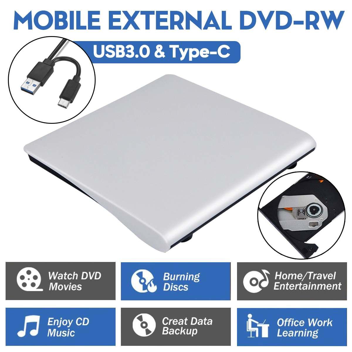 USB 3.0/Type-C External DVD Burner Writer Recorder DVD RW Optical Drive CD/DVD ROM Player MAC,s OS Windows XP/7/8/10