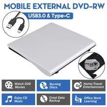 USB 3.0/type-c graveur de DVD externe enregistreur DVD RW lecteur optique lecteur CD/DVD ROM MAC,s OS Windows XP/7/8/10