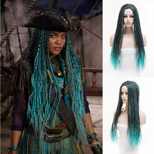 3 cores azul cinza mix preto uma tranças longo reta trançado descendentes 3 cosplay uma perucas sintéticas para festa de halloween peruca