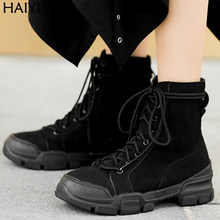 Women Ankle Boots Casual Chunky Platform Boots Women Lace Up Martens Boots Punk Rock Womens Fall Boots Sports Style Black Shoes(China)