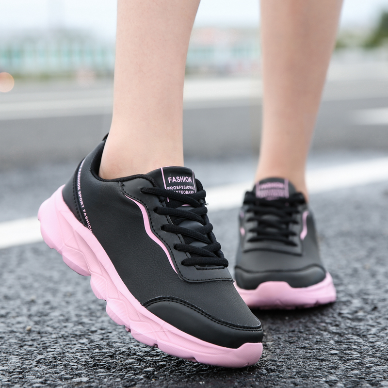Leader Show 2020 Autumn Women's Running Shoes Leather Lightweight Sneakers New Trend Women Sneakers Korean Woman Athletic Shoes