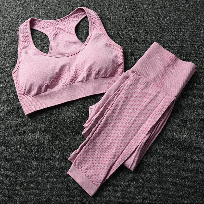 2PCS Women Sports Suits  Seamless Yoga Set  Fitness Clothing Sportswear Woman Gym Leggings Tights Padded Push-up Sports Bra