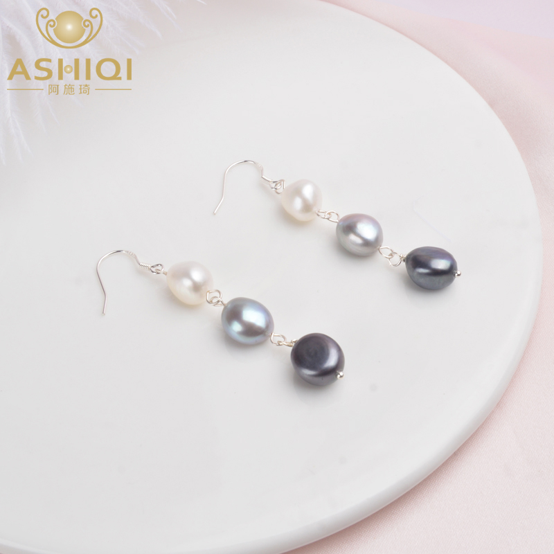 ASHIQI Natural Baroque Pearl 925 Sterling Silver Long Earrings For Women Black freshwater pearl Handmade drop earring Party Gift