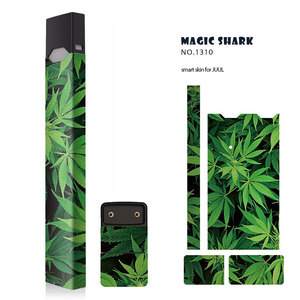 Magic Shark New Star Space Green Leaf Sexy Women Sticker Case Cover For Juul E Cigarette Skin for Juul Cover Sticker(China)