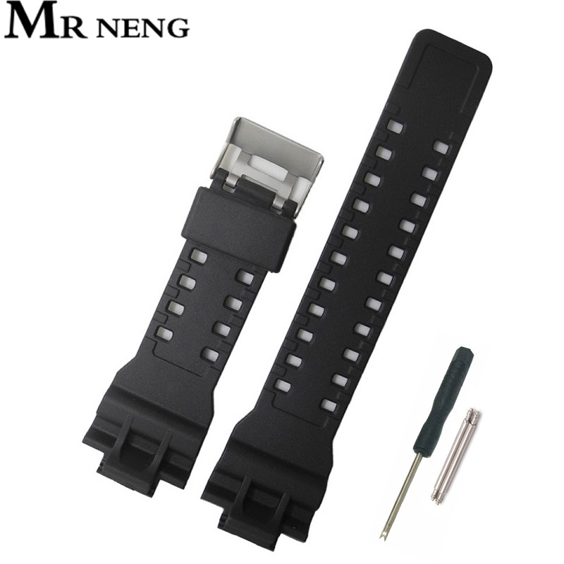 Man 16mm Silicone Rubber Resin Watch Band Strap Fit For Casio Replacement Black Waterproof Watchbands Accessories For GA110/100
