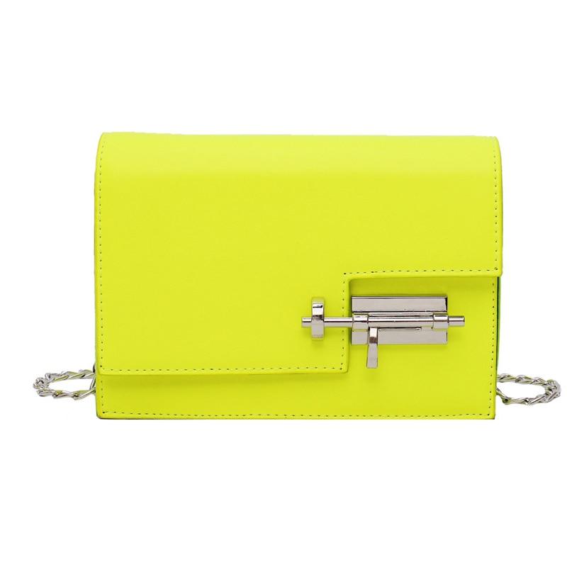 Image 2 - Модные простые сумки на цепи через плечо для женщин желтый зеленый PU кожа Сумка женская сумочка женские вечерние сумки-in Сумки с ручками from Багаж и сумки