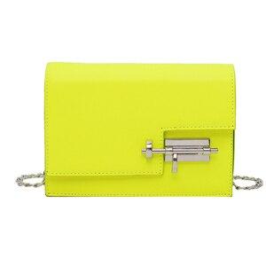 Image 5 - Womens Handbag Simple Chain Crossbody Bags For Women 2020 New Pu Leather Yellow Green Fashion Young Woman Evening Shoulder Bag