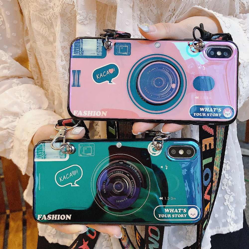 Note10 Plus 3D Blu-ray camera Cases+Holder Stand+Strap Phone Case For Samsung S7 Edge S8 S9 S10 Plus S10E J330 J530 J730 note10p