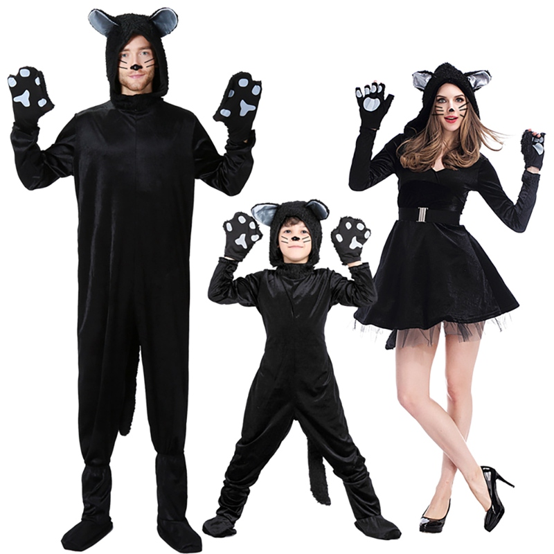 New Halloween Adult Kids Black Cat Costume Cosplay Animal Black Cat Parent-Child Stage Performance Clothes Hot
