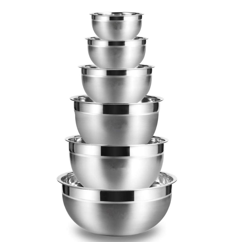 LMETJMA миски для смешивания из нержавеющей стали (набор из 6) Нескользящие матовые Миски Набор миски для приготовления салата KC0257
