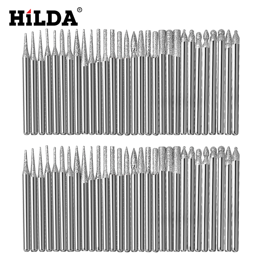 HILDA Dremel Diamond Grinding Heads 30pcs 3mm Burrs Bur Bit Set For Dremel Tool Accessories Kit Minitaladro Rotary Set