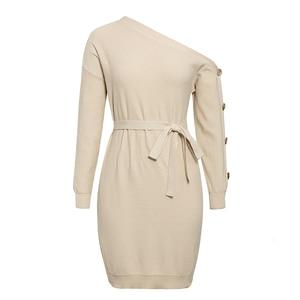 Image 5 - Misswim 캐주얼 니트 풀오버 스웨터 드레스 여성 우아한 한 어깨 새시 가을 겨울 드레스 숙녀 느슨한 미디 드레스 2019