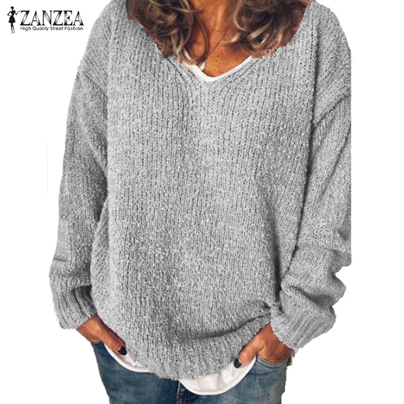2019 ZANZEA Autumn Fashion Sweater Women Casual V Neck Long Sleeve Knitted Pullover Solid Loose Jumpers Sweaters Tops Female 5XL