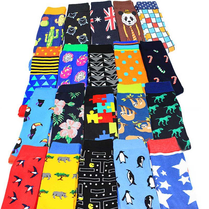 New 2019 Colorful Cotton Men's Long Socks Harajuku Hip Hop Funny Animal Geometry Graphics Socks For Male Wedding Christmas Gift