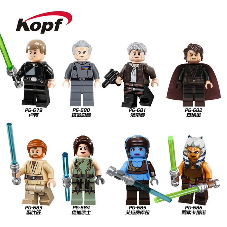 Building Blocks Luke Skywalker Grand Moff Tarkin Han Solo Anakin Aayla Secura Obi-Wan Jedi Knight Toys Children Gift PG8034