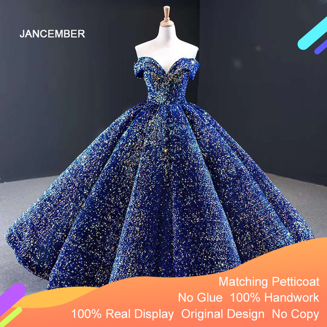 J66991 Jancember Blue Quinceanera Dress Sweetheart Short Sleeves Off The Shoulder Sequined Party Dress For Plus Size Vestido 16