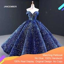J66991 Jancember bleu Quinceanera robe 2020 chérie manches courtes épaules dénudées paillettes robes de soirée pour grande taille