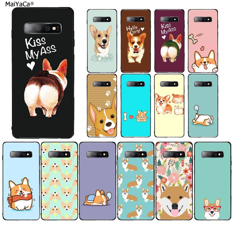 MaiYaCa Cute Corgi <font><b>Sexy</b></font> Cartoon Dog Ass Phone <font><b>Case</b></font> for Samsung S9 plus S5 S6 edge plus S7 edge <font><b>S8</b></font> plus S10 E S10 plus image