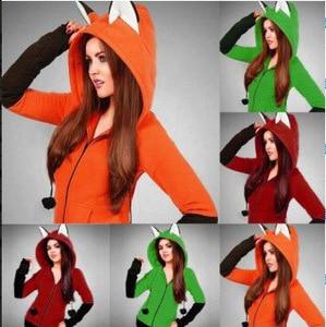 Image 5 - Halloween Kostüme Für Frauen Anime Fuchs Orelhas Ohren Orange Hoodie Sweatshirts Plüsch Ball Dekoration Weihnachten Jacken Outwear